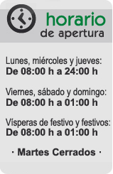 Horario de Bar Los Mellizos, La Casa de los Caracoles