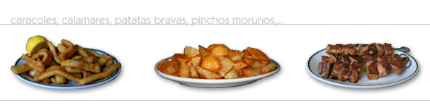 caracoles, calamares, patatas bravas, pinchos morunos,...
